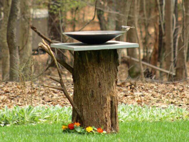Make a Birdbath From an Old Tree Stump