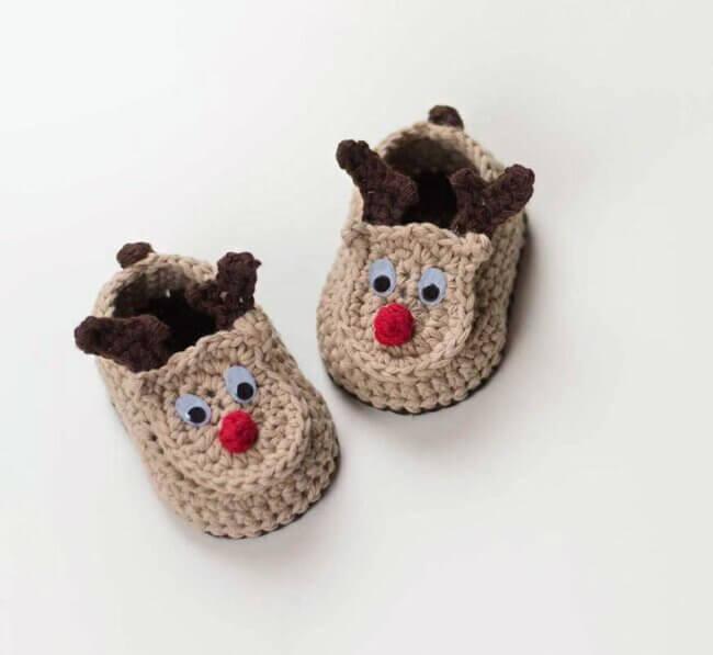 Crochet Baby Booties Reindeer Booties