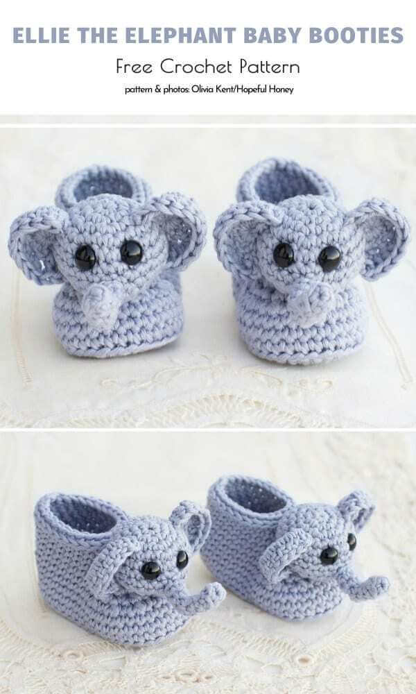 Ellie The Elephant Baby Booties Free Crochet Pattern