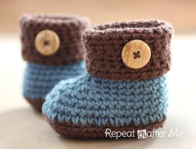 Rochet Cuffed Baby Booties Pattern
