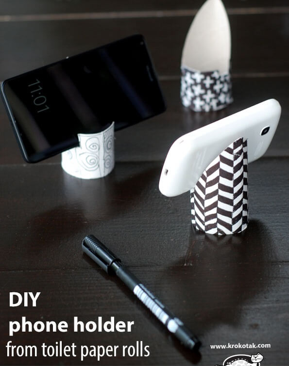 How to make phone holder from toilet paper rolls