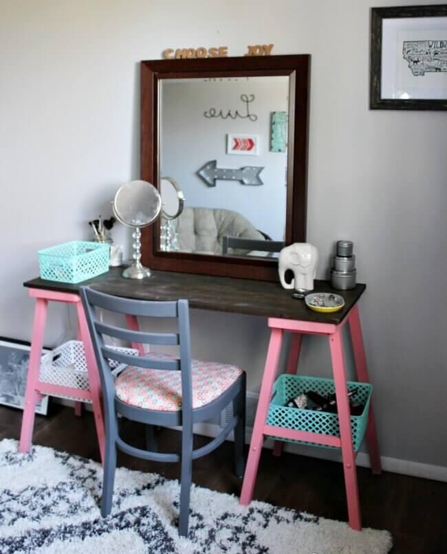 Teen Attic Bedroom + an Easy Vanity