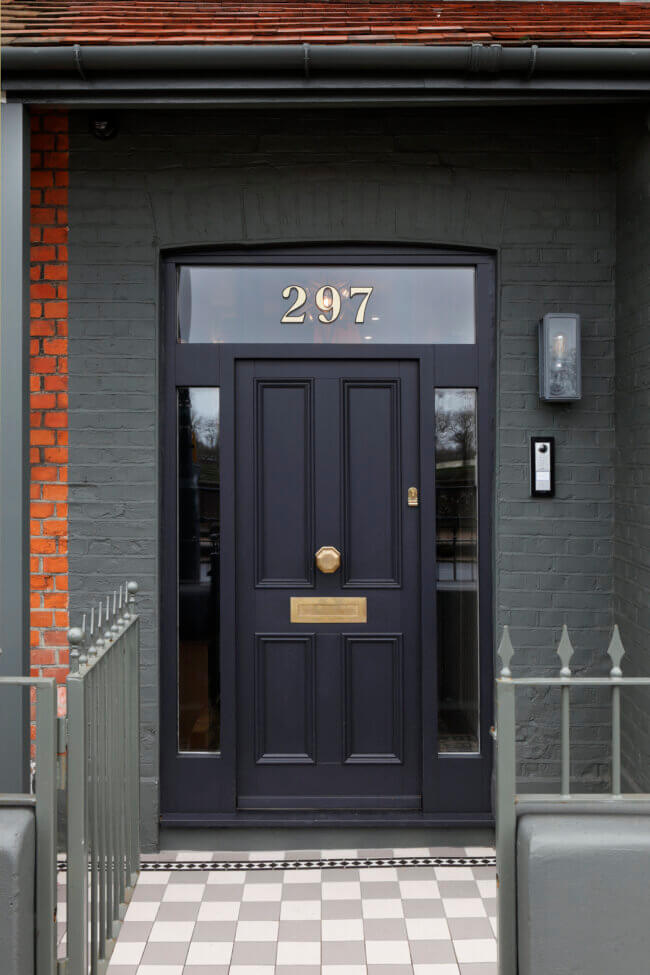 Black City Door with Knocker and Mail Slot