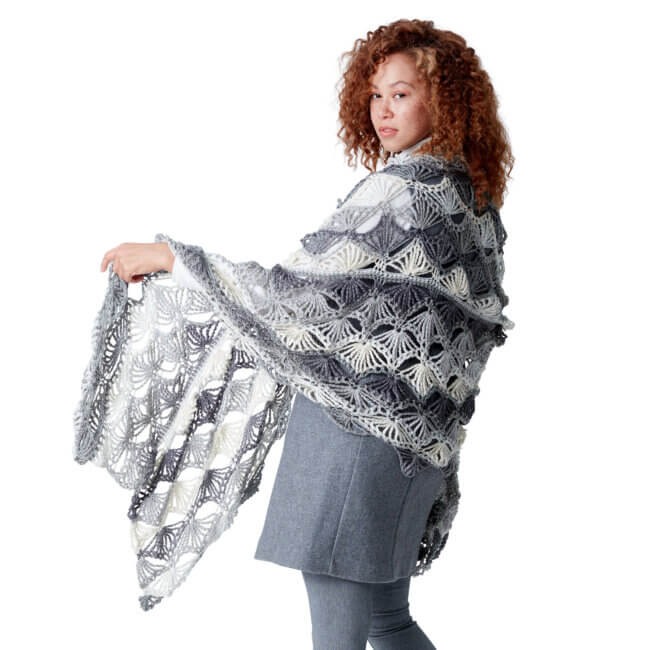 Caron Fan Shells Crochet Shawl