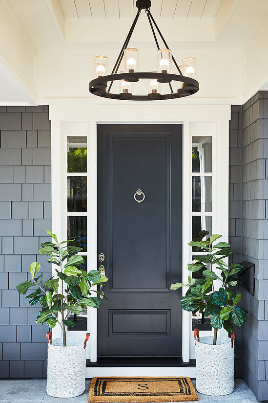 Simplistic Black Exterior Door with Knocker