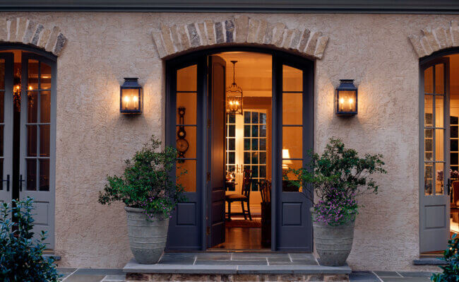 Cottage Entryway Idea With A Black Front Door