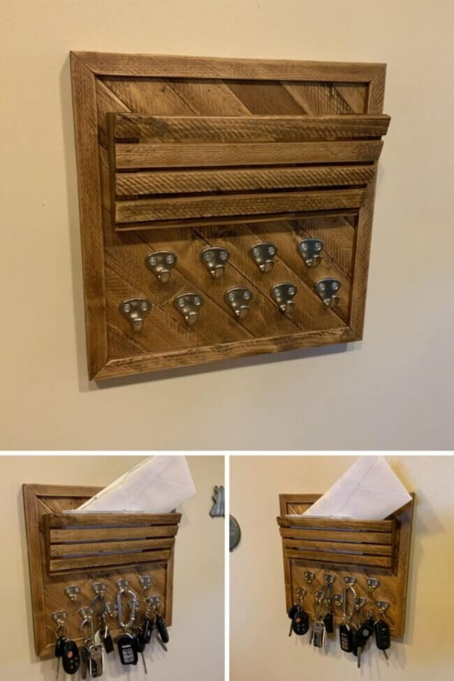 DIY Entryway Key Holder with Mail Slot