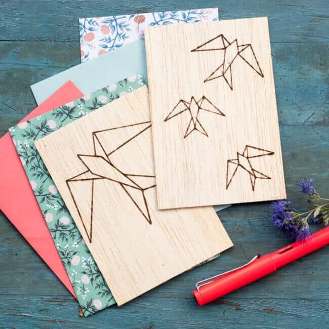 DIY greeting card made of balsa wood