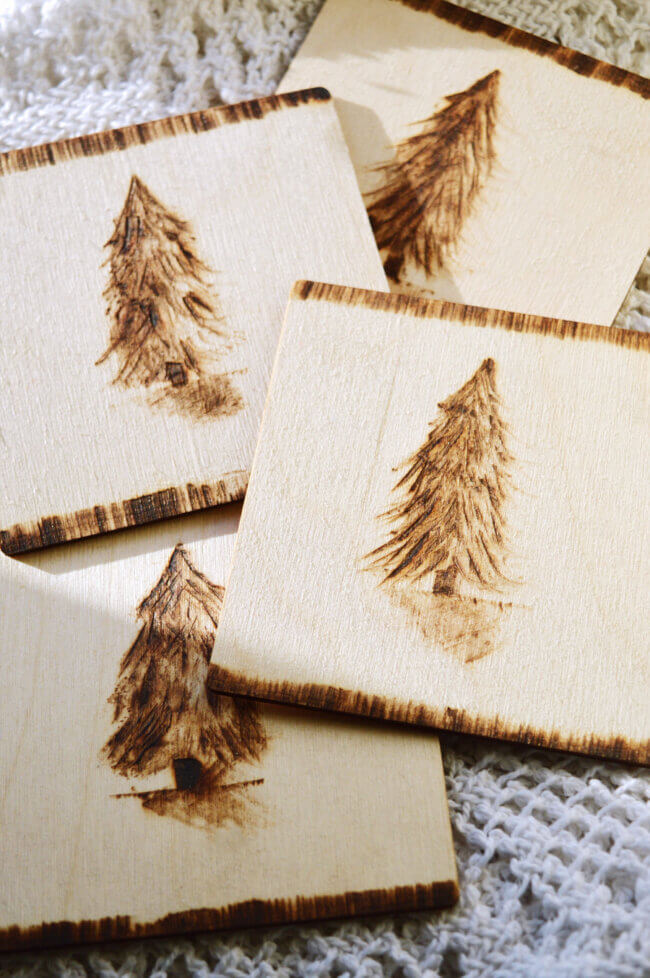 Diy Card Suits Woodburned Sketch Coasters