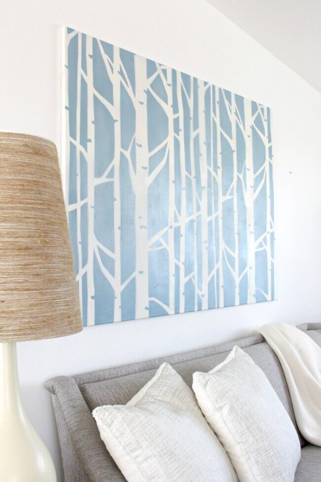 Diy Stenciled Art: Renter-friendly Spin On Birch Tree Wallpaper