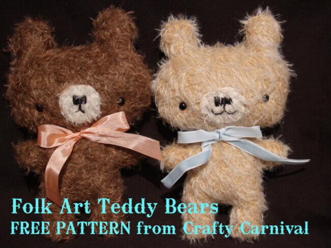 Free Pattern for Folk Art Mohair Teddy Bear