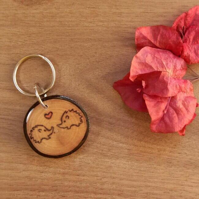 Hedgehog Couple Keychain, Wooden Keychain