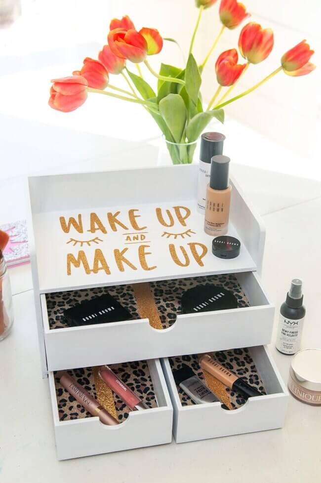 Makeup Organizer with Leopard and Decoupage