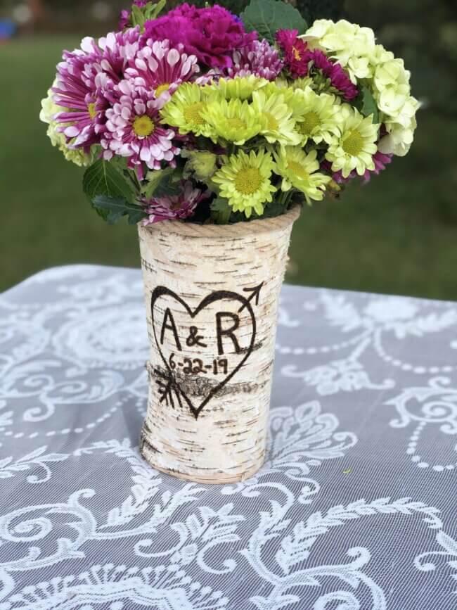 Personalized vase - Wood centerpiece wedding