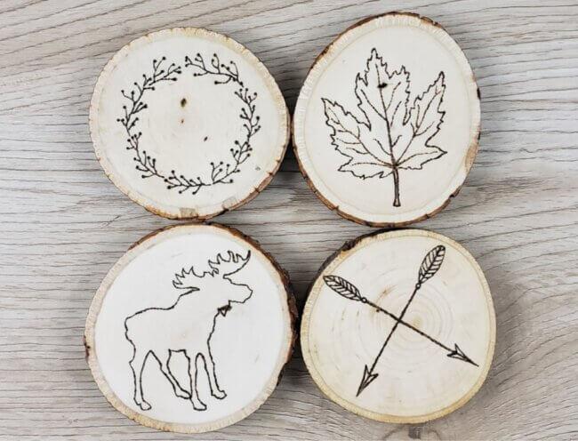 Rustic Wood Burned Coasters   Tutorial + Free Patterns!