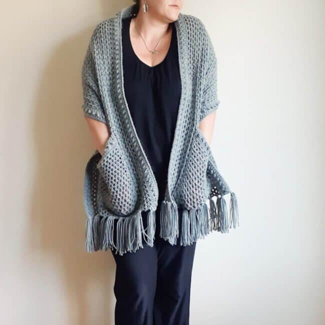 Sabrina Pocket Wrap – Free Crochet Pattern