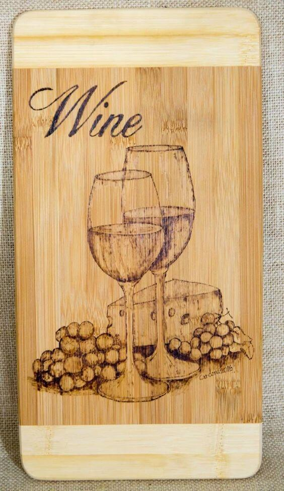 Wine and Grapes cutting board