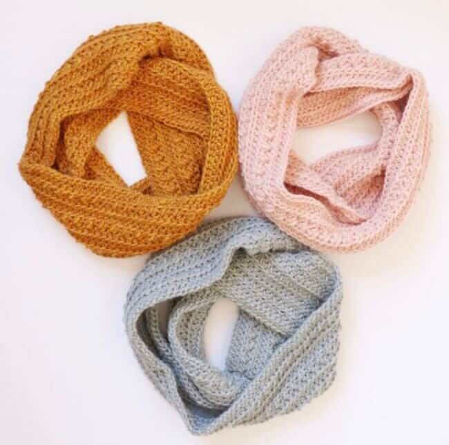 Crochet Cluster Stitch Infinity Scarf