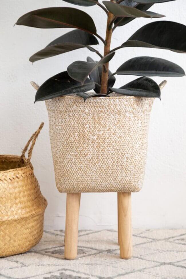 DIY Basket Plant Stand