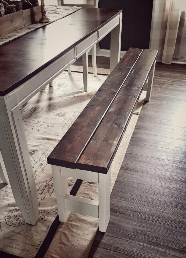 DIY Farmhouse Bench for Dining Table