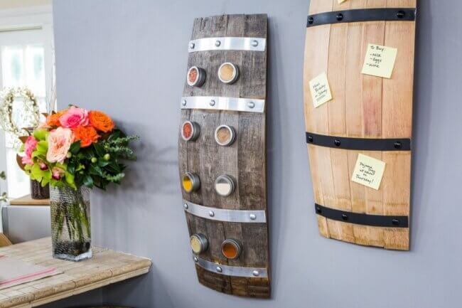 DIY Wine Barrel Spice Rack