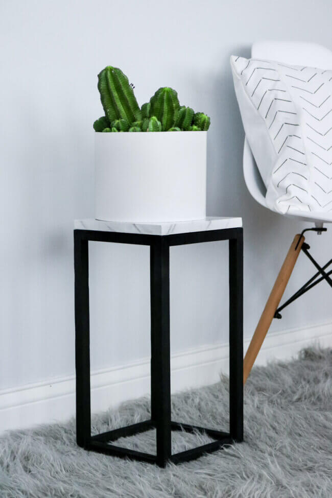 Diy Plant Stand + Easy Faux Marble Effect