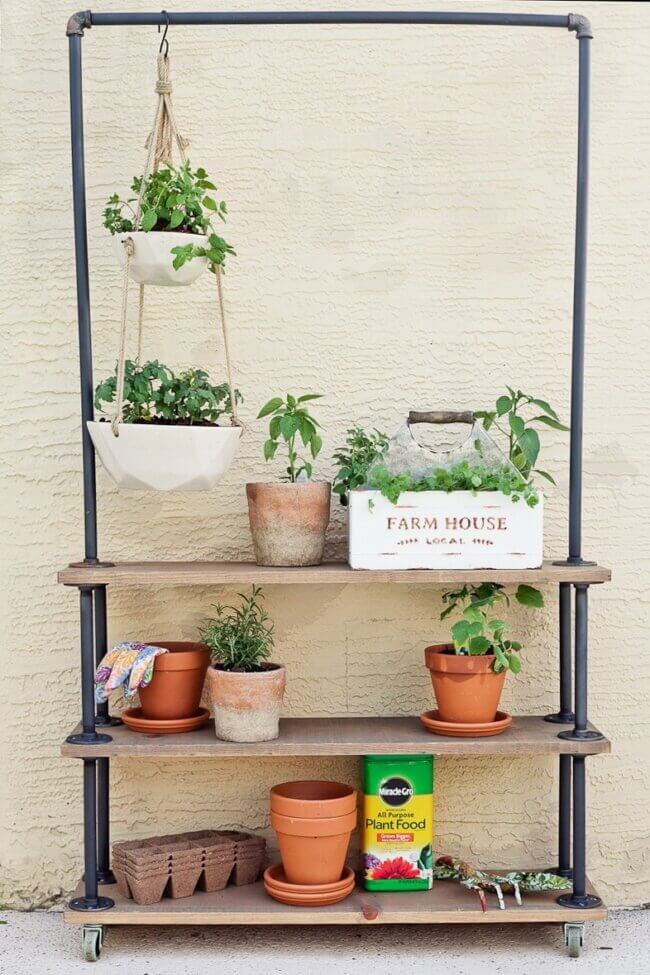 Make Your Own DIY Rolling Garden and Plant Shelf