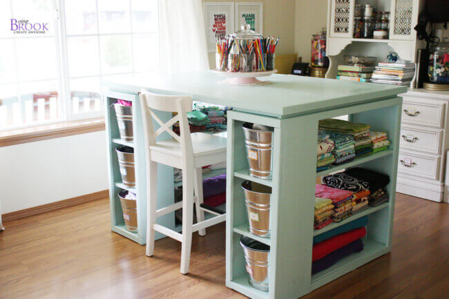 Modern Craft Table-Aqua