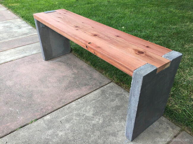 Modern Outdoor Diy Concrete Bench With Redwood Seat