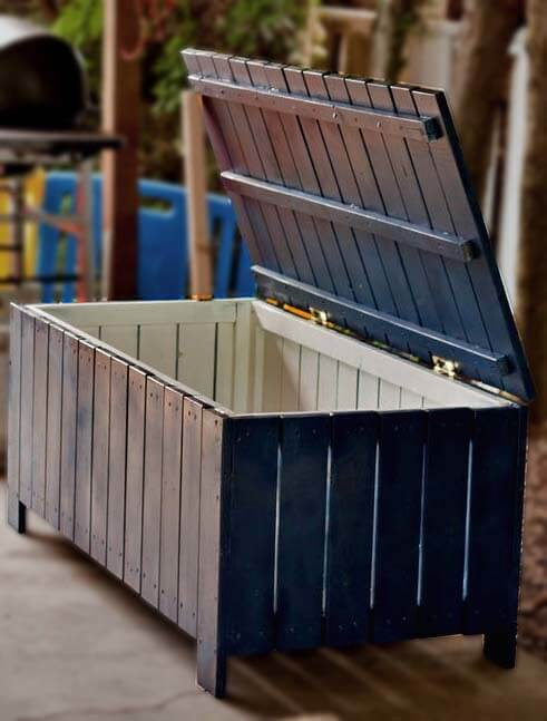 Outdoor Storage Bench - Vertical Slat Design