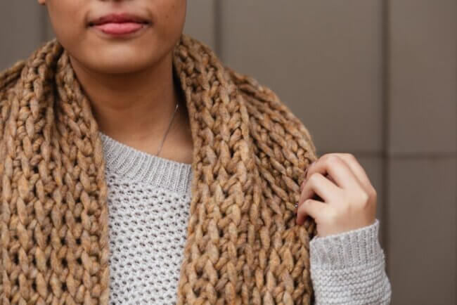 The Toasted Marshmallow Infinity, a beginner-friendly crochet loop scarf