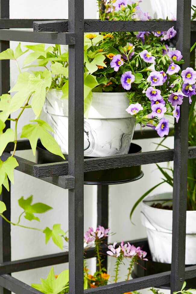 Turn Basic Wood Trellises into a Stylish Outdoor Plant Stand