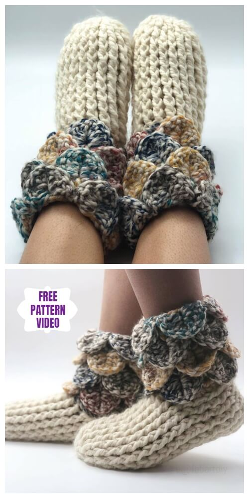 Crochet Crocodile Stitch Slipper Boots