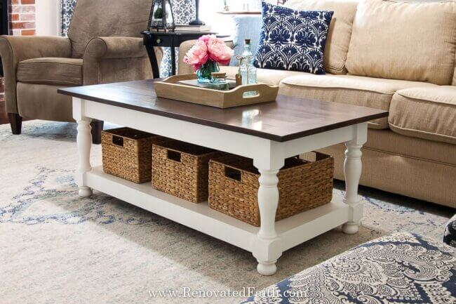 DIY Farmhouse Coffee Table with Turned Legs & Storage