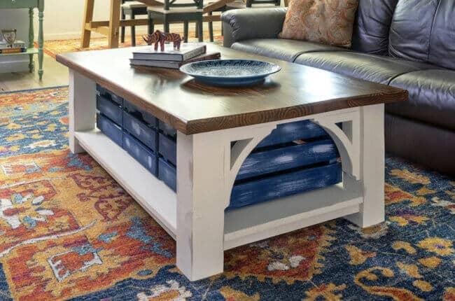 Farmhouse Style DIY Coffee Table with Storage