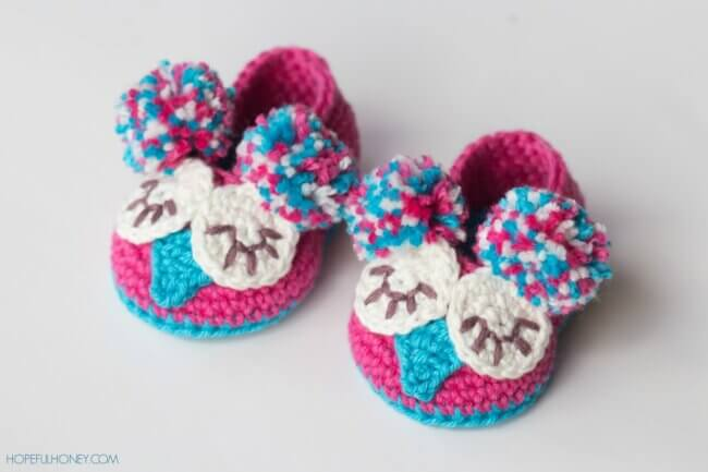 Owl Baby Booties Crochet Pattern