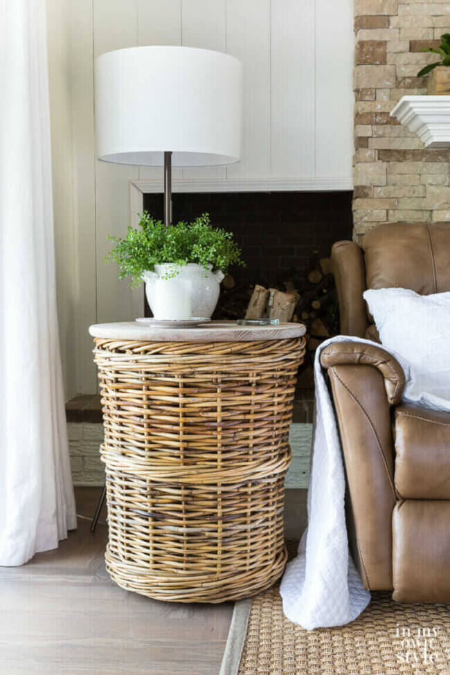 Wicker Basket Side Table for My Living Room