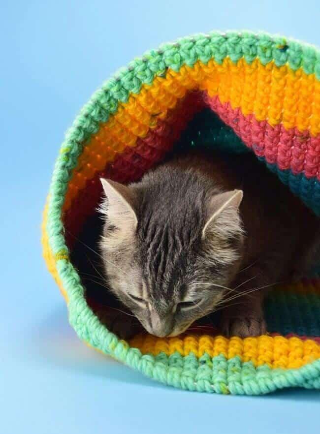 Crochet Cat Sack Hideaway