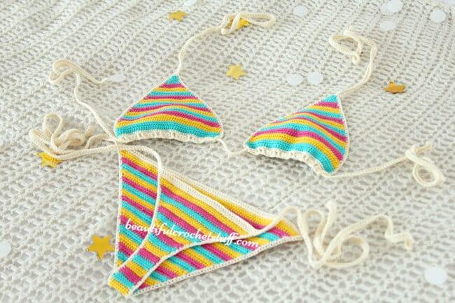 Crochet Colorful Bikini Free Pattern