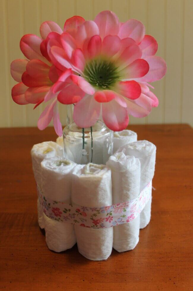 DIY Baby Shower Centerpieces Using Diapers