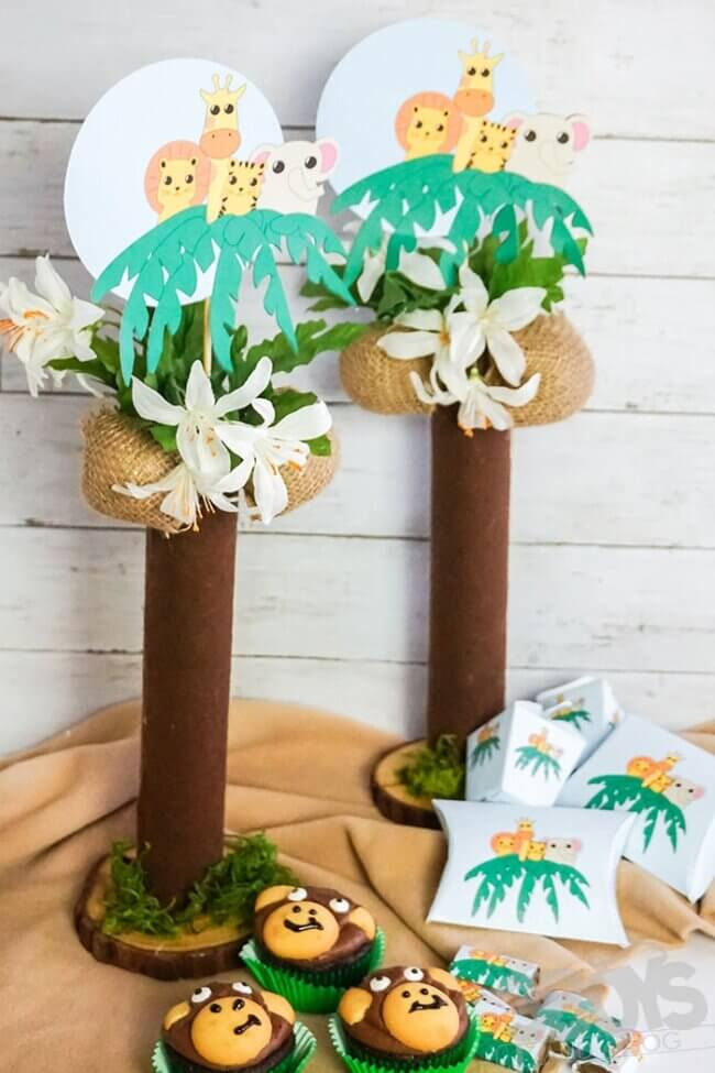 DIY Jungle Baby Shower Centerpieces