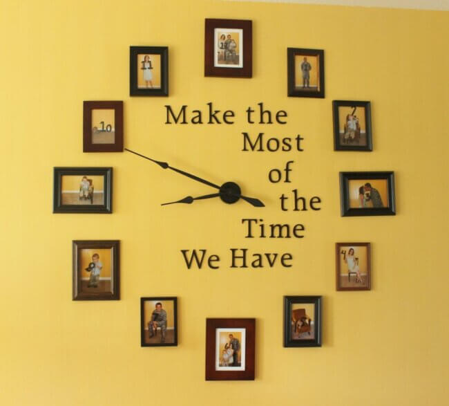 DIY Large Photo Wall Clock Home Decorating Craft with Frames