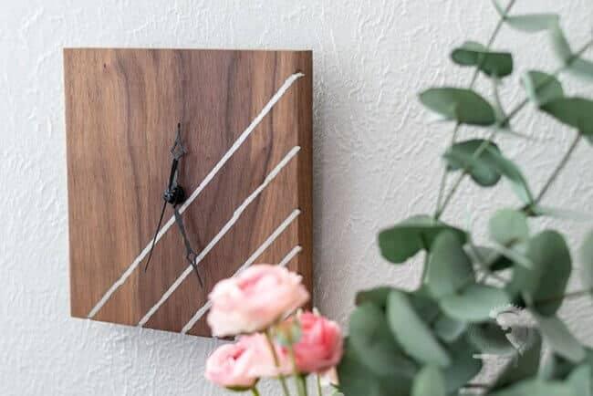 DIY Wooden Clock With Metal Inlay
