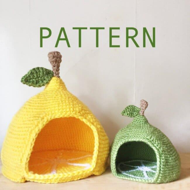 Mini/Mega Lemon/Lime Crochet Pet Cave/Hide/House/Bed Pattern