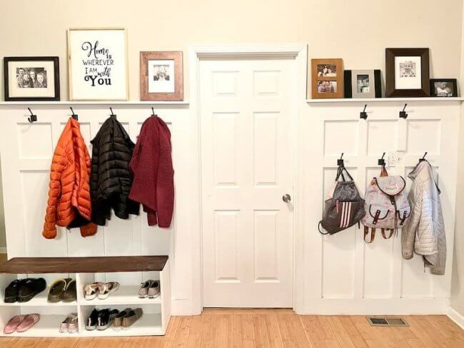 Build A Diy Board And Batten Mudroom On Any Blank Wall!