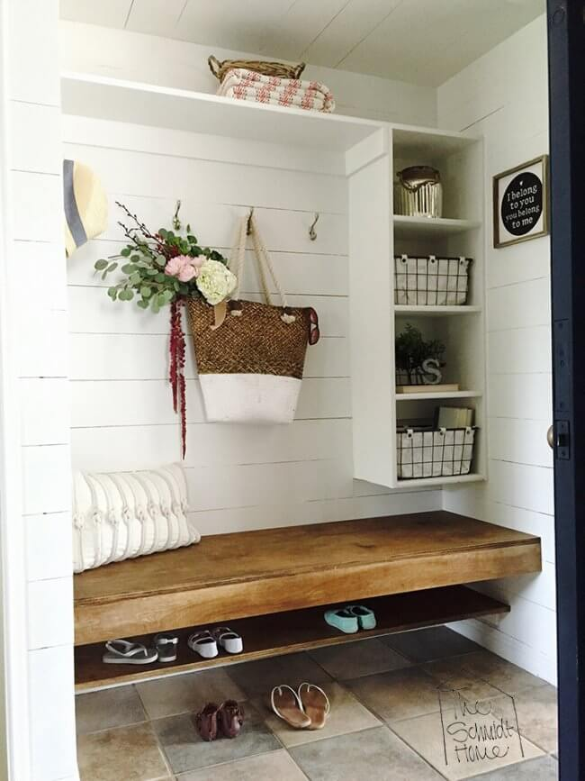 Build a Floating Bench and Shoe Shelf