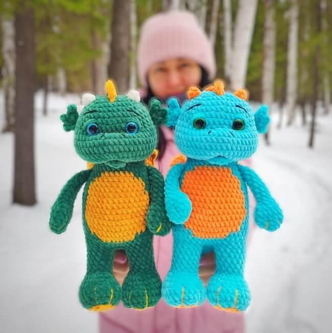 Crochet Dragon Pattern, Amigurumi Dinosaur Pattern