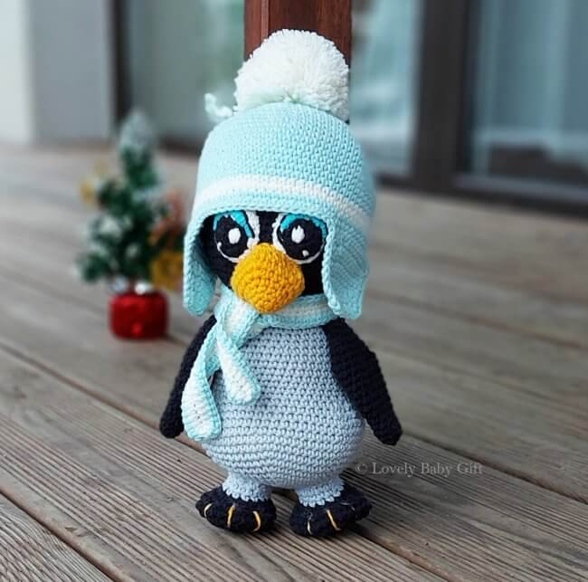 Amigurumi Penguin with Earflap Hat and Scarf