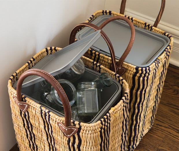 DIY Recycling Bin Basket Storage