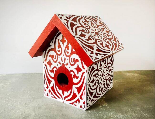 DIY Stenciled Birdhouses